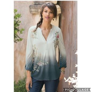 EUC Soft Surrounding Embroidered dip dye ombré top